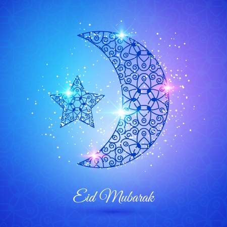 Greeting card with moon and star for Muslim community festival Eid Mubarak Vector