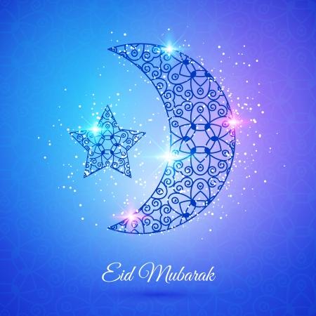 star and crescent: Tarjeta de felicitaci�n con la luna y las estrellas para el festival de la comunidad musulmana de Eid Mubarak