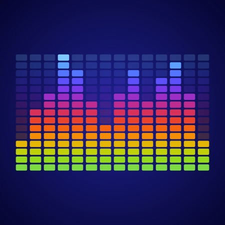 Rainbow Equalizer on dark background. Vector illustration Stock Vector - 25094745
