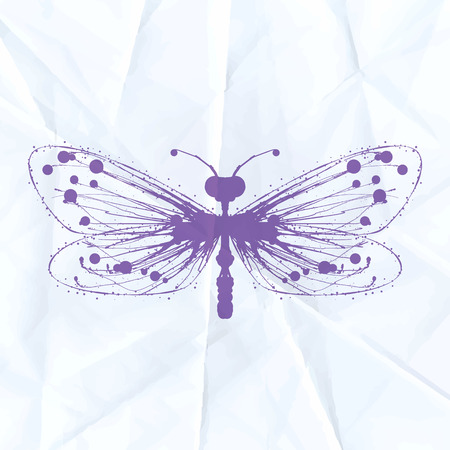 Dragonfly-blot on crumpled paper. Vector illustration Vector