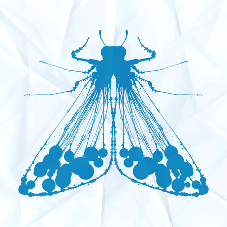 Moth on crumpled paper. Vector illustration
