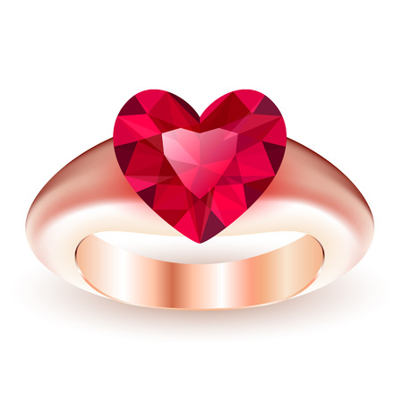 Ring with ruby heart shaped isolated on white background Vector