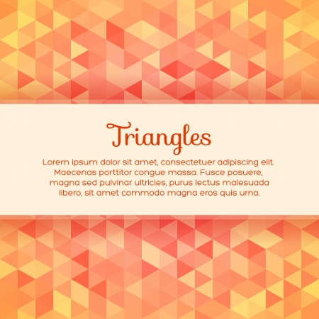 Abstract colorful background with triangles and frame for text Illustration