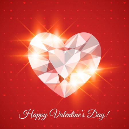 Happy Valentines Day Card with heart-shaped diamond