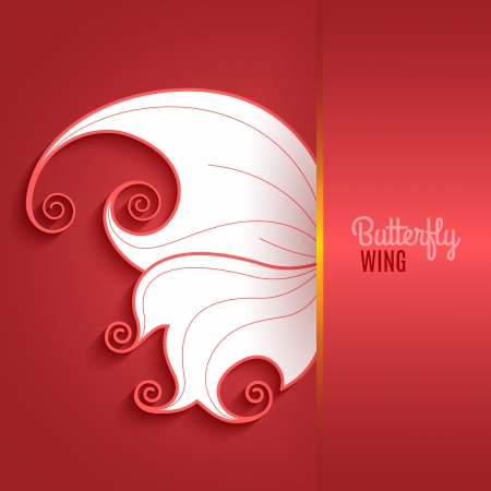 Red card with abstract butterfly wing. Vector illustration