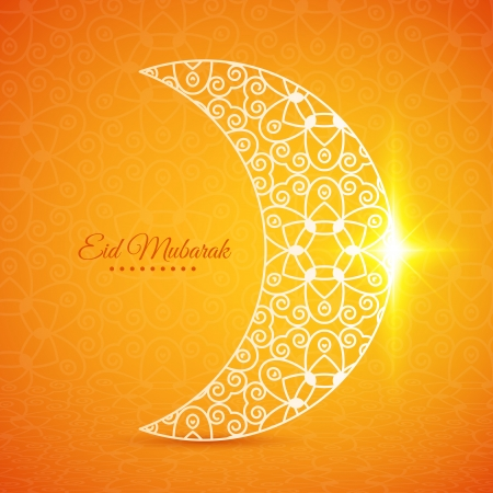 Greeting card with moon for Muslim community festival Eid Mubarak