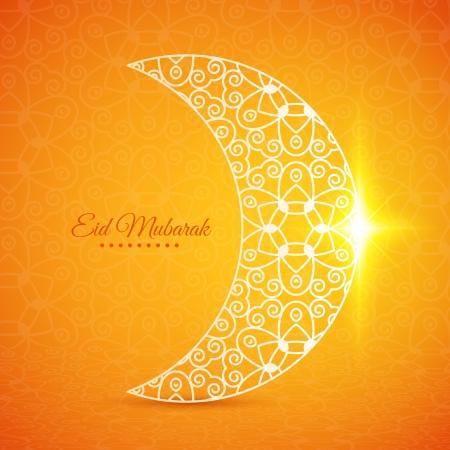 mubarak: Greeting card with moon for Muslim community festival Eid Mubarak