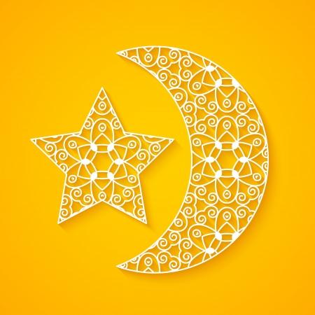 透かし彫りの月と星  イラスト・ベクター素材