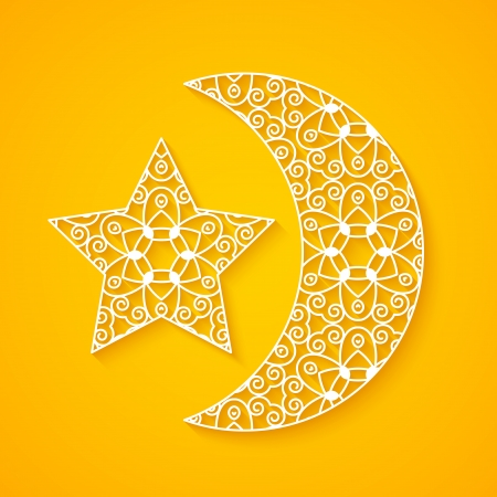 Openwork moon and star  Illustration