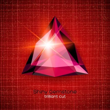 trilliant: Shiny gemstone on textured background.