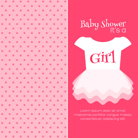 cute baby girl: Baby Girl Shower invitation template. Vector design Illustration