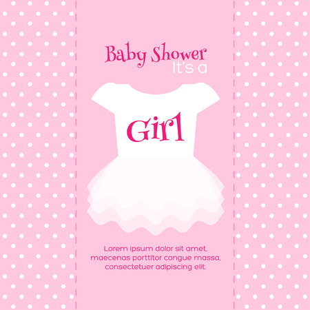 Baby Girl Shower invitation card. Pink template Illustration