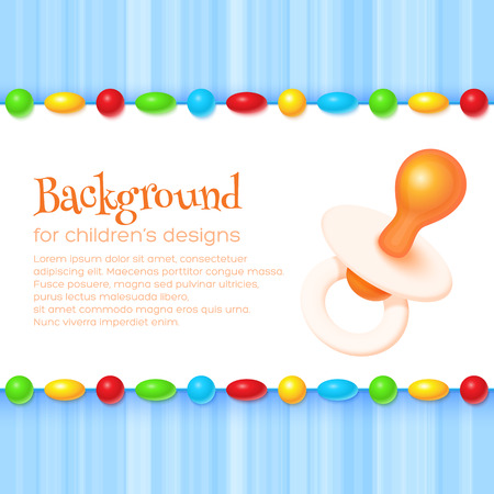 baby background: Abstract childrens background with pacifier. For banners, backgrounds, cards, etc Illustration