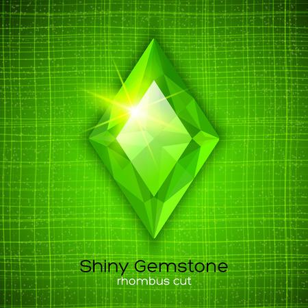 Shiny emerald rhombus cut on textured background