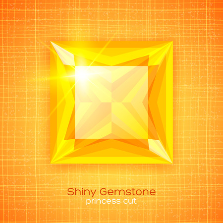 Shiny gemstone princess cut on textured background Vector