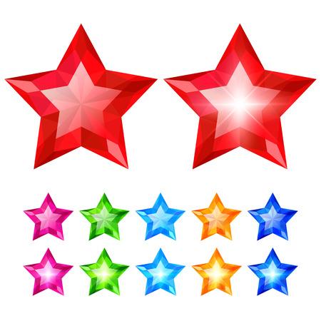 Set of crystal stars isolated on white background Illustration