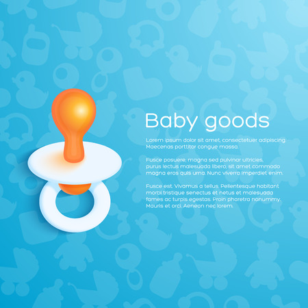 Blue childrens background with pacifier. Vector illustration Vector