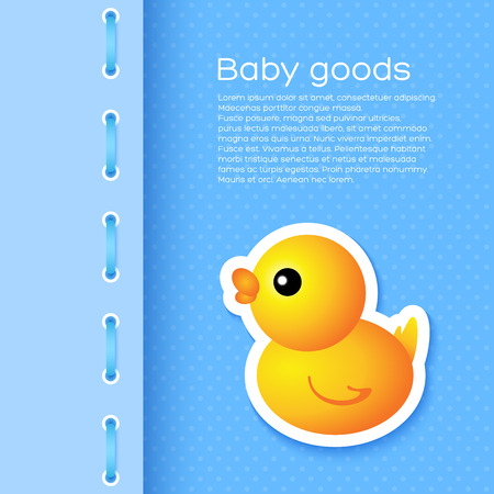 Background with cartoon duck. For children backgrounds, cards Illustration