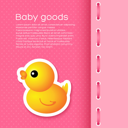 baby goods: Background with cartoon duck. For children backgrounds, cards Illustration