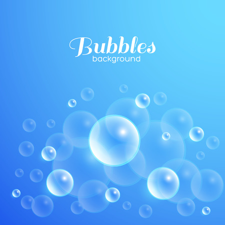Air bubbles underwater. Blue abstract vector background Illustration