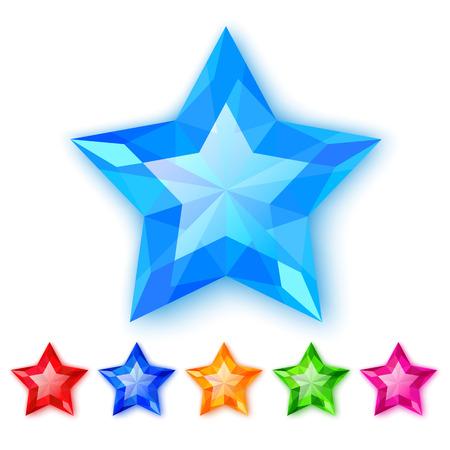 gems: Set of crystal stars isolated on white background Illustration