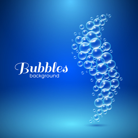 Wave of air bubbles underwater. Vector background