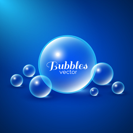 Air bubbles underwater background. Abstract vector illustration Vectores