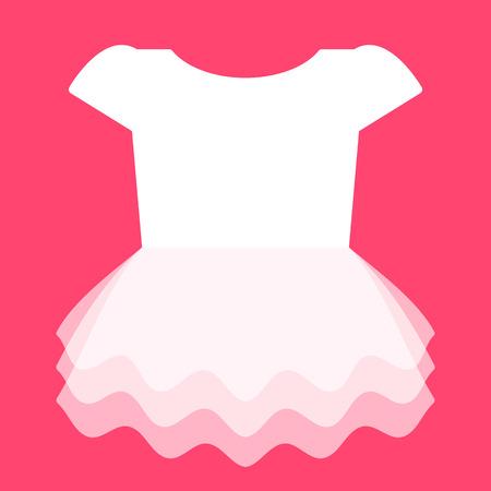 Cute white dress for little girl. Vector illustration Vector