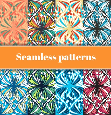 tessellated: Set of colored mosaic seamless patterns Illustration
