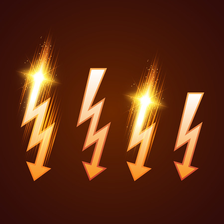 lightning strike: Shining lightning set. Vector illustration for your design