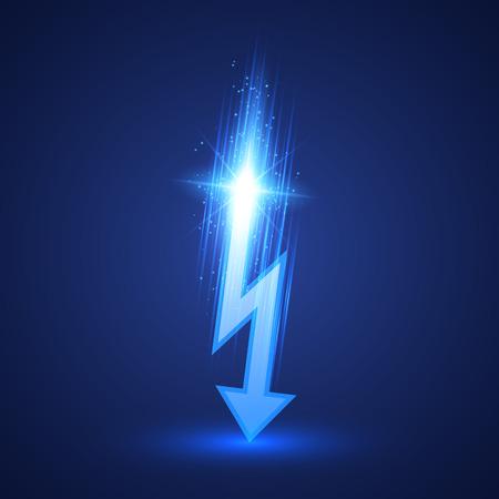 Vector lightning bolt on dark background. Vector illustration 向量圖像