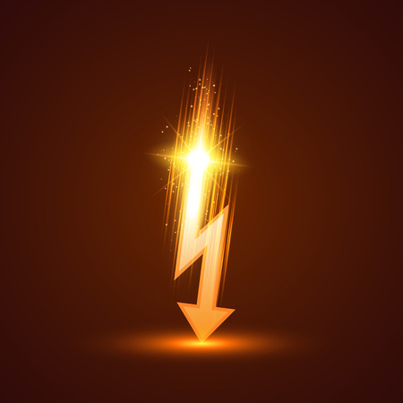 Vector lightning bolt on dark background. Vector illustration