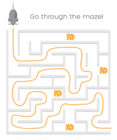 Maze game with mouse and cheese. Vector illustration Vector