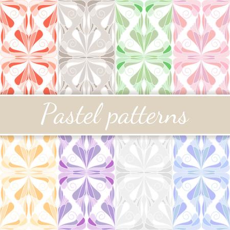 Pastel seamless patterns set. Vector illustration for backgrounds, textile, etc Illustration