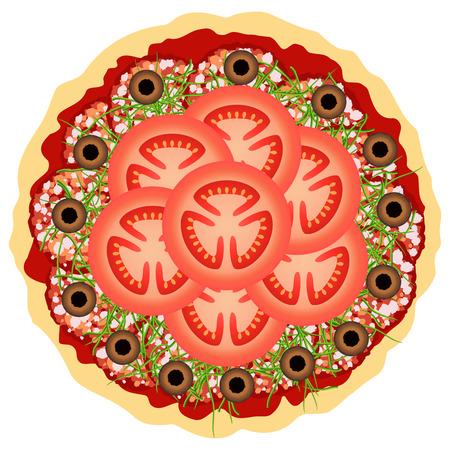 salame: Pizza com tomate, salame e azeitonas sobre o branco. Ilustra��o do vetor