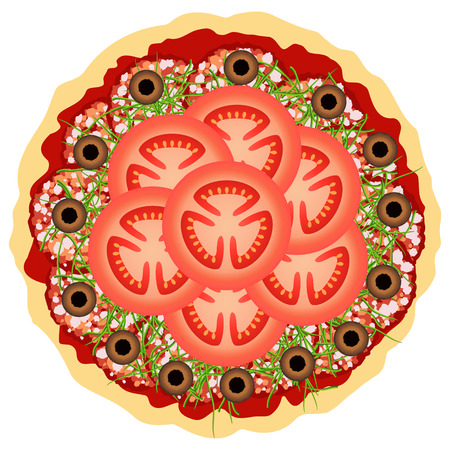 Pizza with tomatoes, salami and olives over white. Vector illustration