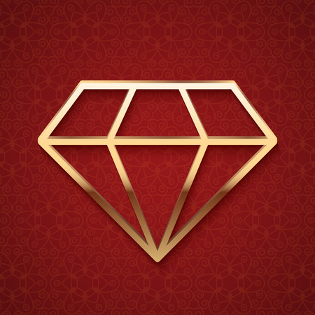 jewelry design: Golden diamond silhouette on dark red background.  Illustration