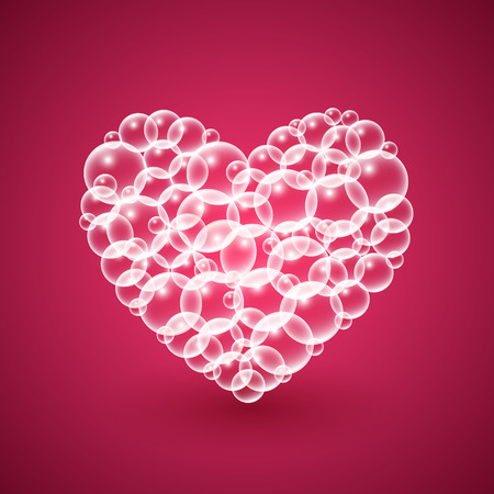 bubbly: Shiny heart of transparent bubbles on dark red background.