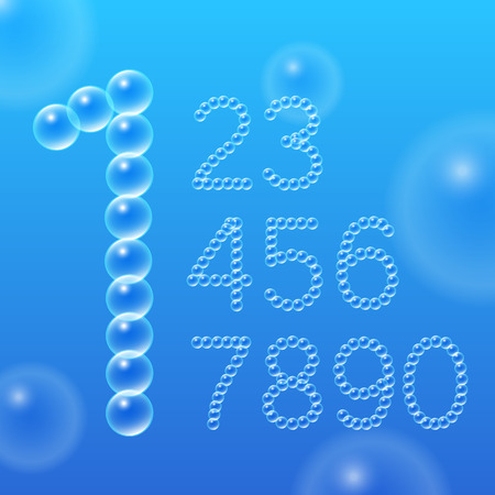 Numbers 0-9 of air bubbles. design. Vector