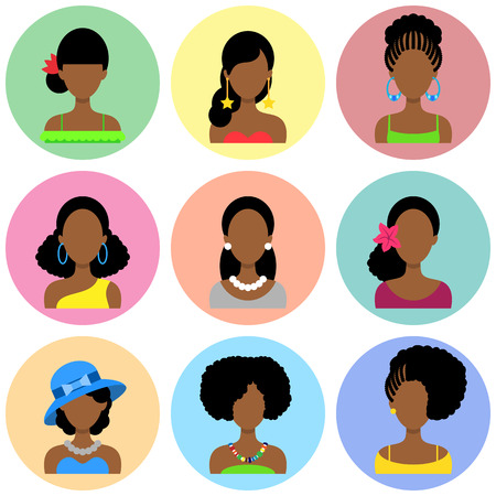 hair style collection: Set of Flat Circle Icons with Different African Women Fashion Styles. Vector characters