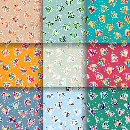 Set of multicolor seamless patterns with diamonds. Vector illustration Vector