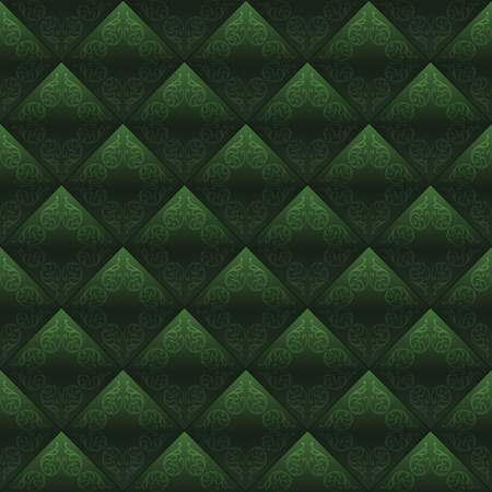 Decorated tiles dark green seamless background. Vector design Vector