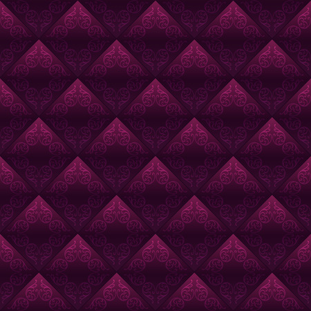 Decorated tiles dark red seamless background. Vector design Vector