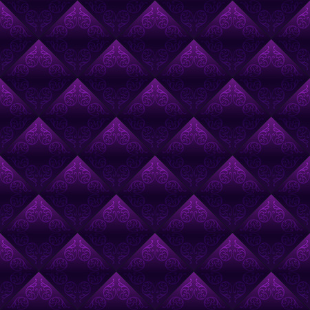 Decorated tiles dark purple seamless background. Vector design Vector
