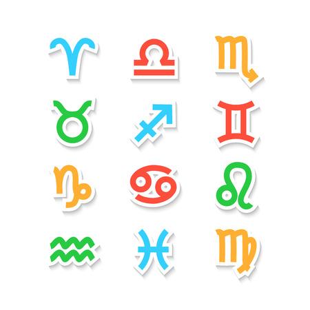 Zodiac Symbol icons isolated on white. Vector illustration