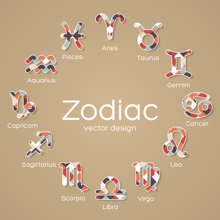 Multicolored Mosaic Zodiac Symbol icons. Vector illustration Vector