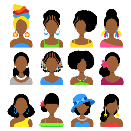 Set of Flat Icons with Different African Women Fashion Styles. Vector characters Vector