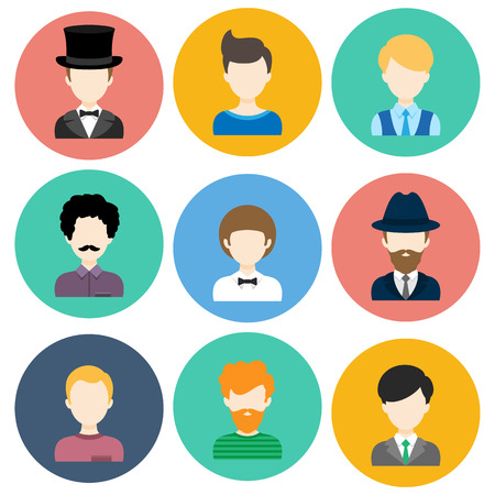 hair style: Set of Flat Circle Icons with Different Man Fashion Styles. Vector characters Illustration