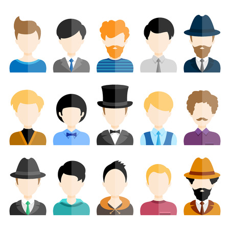 Colorful Male Icons Set in Trendy Flat Style. Vector characters
