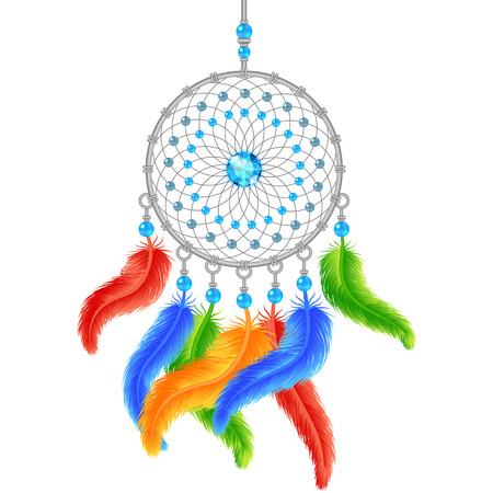 Colorful dream catcher isolated on white. Vector illustration Vector